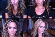 Prinzzess, porn actress, before and after makeup comparison photo.