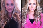 Samantha Saint, porn actress, before and after makeup comparison photo.