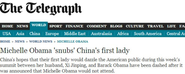 Screenshot of UK's Telegraph website: Michelle Obama 'snubs' China's first lady.