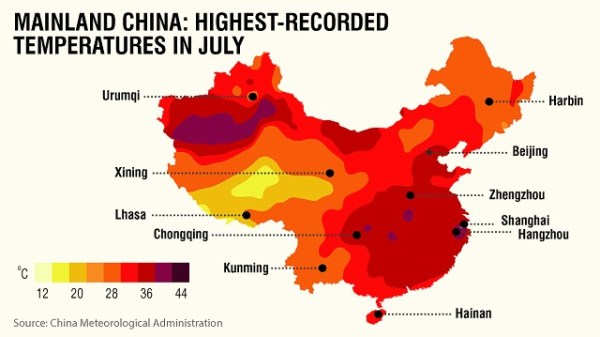Map of record highest recorded temperatures in mainland China in 2013 July.