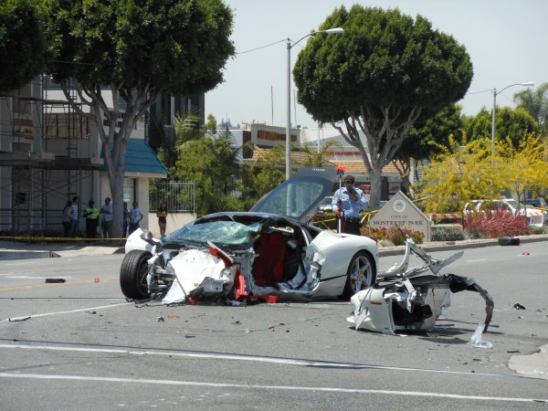 Ferrari of Chinese study abroad student in the US, after a traffic collision with a Hispanic drunk driver in a Hyundai, at the intersection of New and Garvey Ave. in Monterey Park.