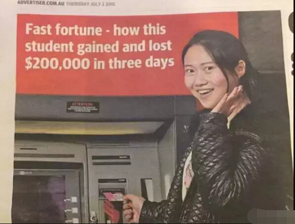 Chinese Student Gets Famous in Australia After Banking Error
