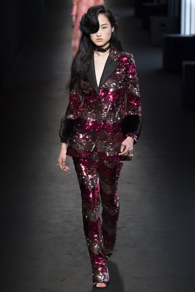 Gucci Sequin Pantsuit RTW Fall 2016. Pic by Yannis Vlamos/IndigitalTV