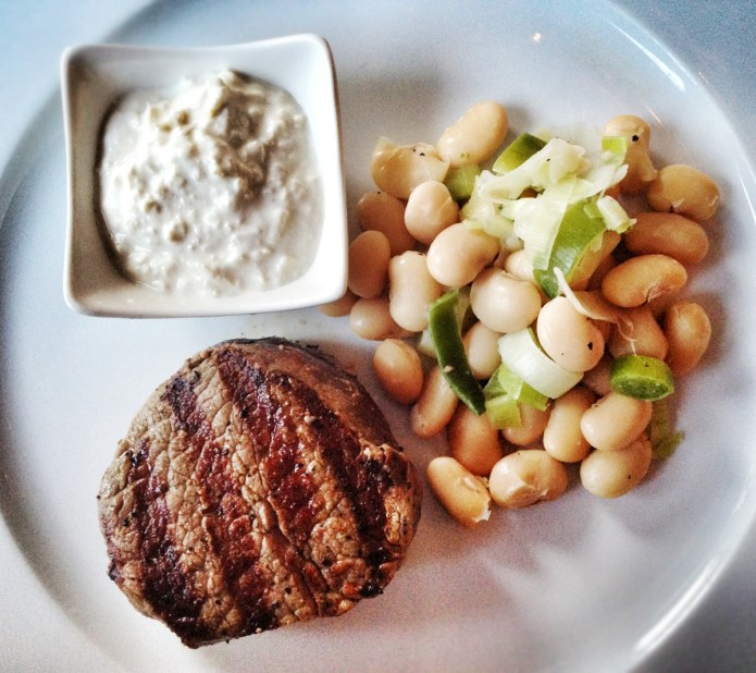 Chiswickish - Quantus - Macken Bros grilled beef fillet, homemade horseradish, leek & butterbeans. Perfectly seasoned steak
