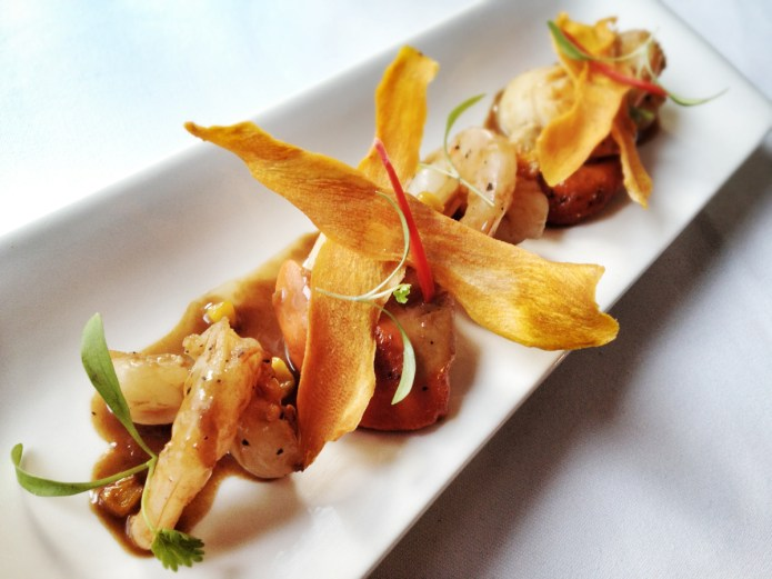 "Chiswickish foodie blog Chiswick - Quantus - Seared scallop gambas, with burnt sweetcorn, chilli, micro coriander, ""Phuket style"""