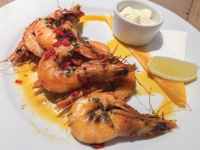 Chilli and Garlic King Prawns with Lemon Mayo