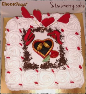 Valentine theme cake with commitment rings