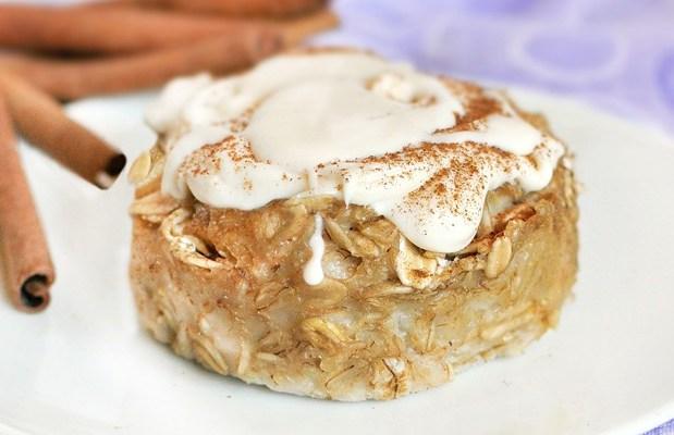 Cinnamon Roll Baked Oatmeal http://chocolatecoveredkatie.com/2011/09/09/cinnamon-roll-baked-oatmeal/