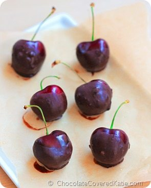 Easy Chocolate Covered Cherries Recipe: http://www.chocolatecoveredkatie.com/
