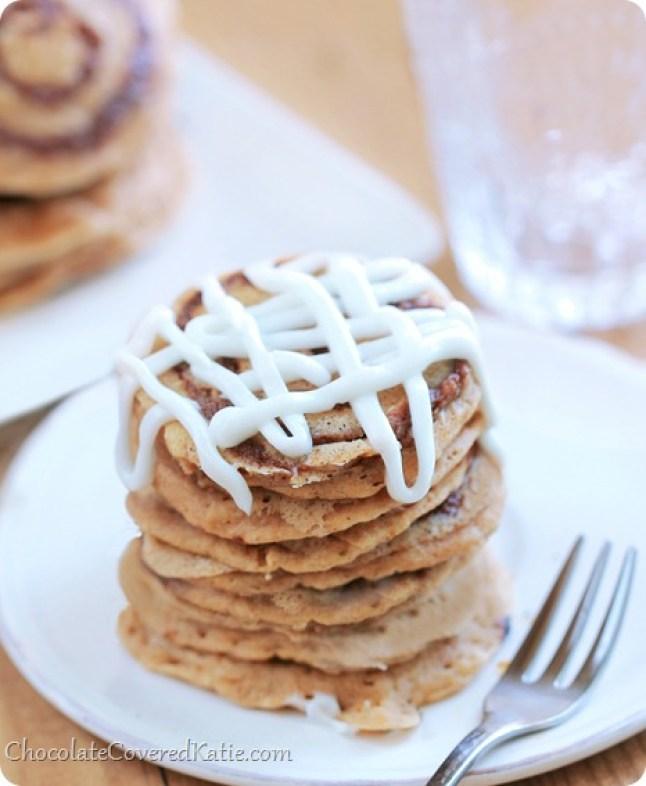 Cinnamon Roll Pancakes: http://chocolatecoveredkatie.com/2014/01/24/cinnamon-roll-pancakes/