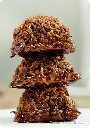 Chocolate Macaroons: http://chocolatecoveredkatie.com/2013/10/11/chocolate-dipped-mocha-coconut-cookies/