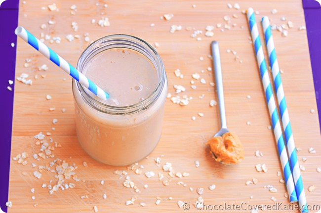 5 Minute Peanut Butter Banana Smoothie: http://chocolatecoveredkatie.com/2014/06/09/peanut-butter-banana-smoothie/