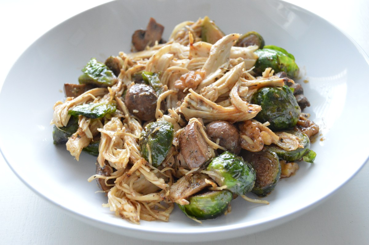 Creamy Balsamic Chicken and Brussel Sprouts (Whole 30)