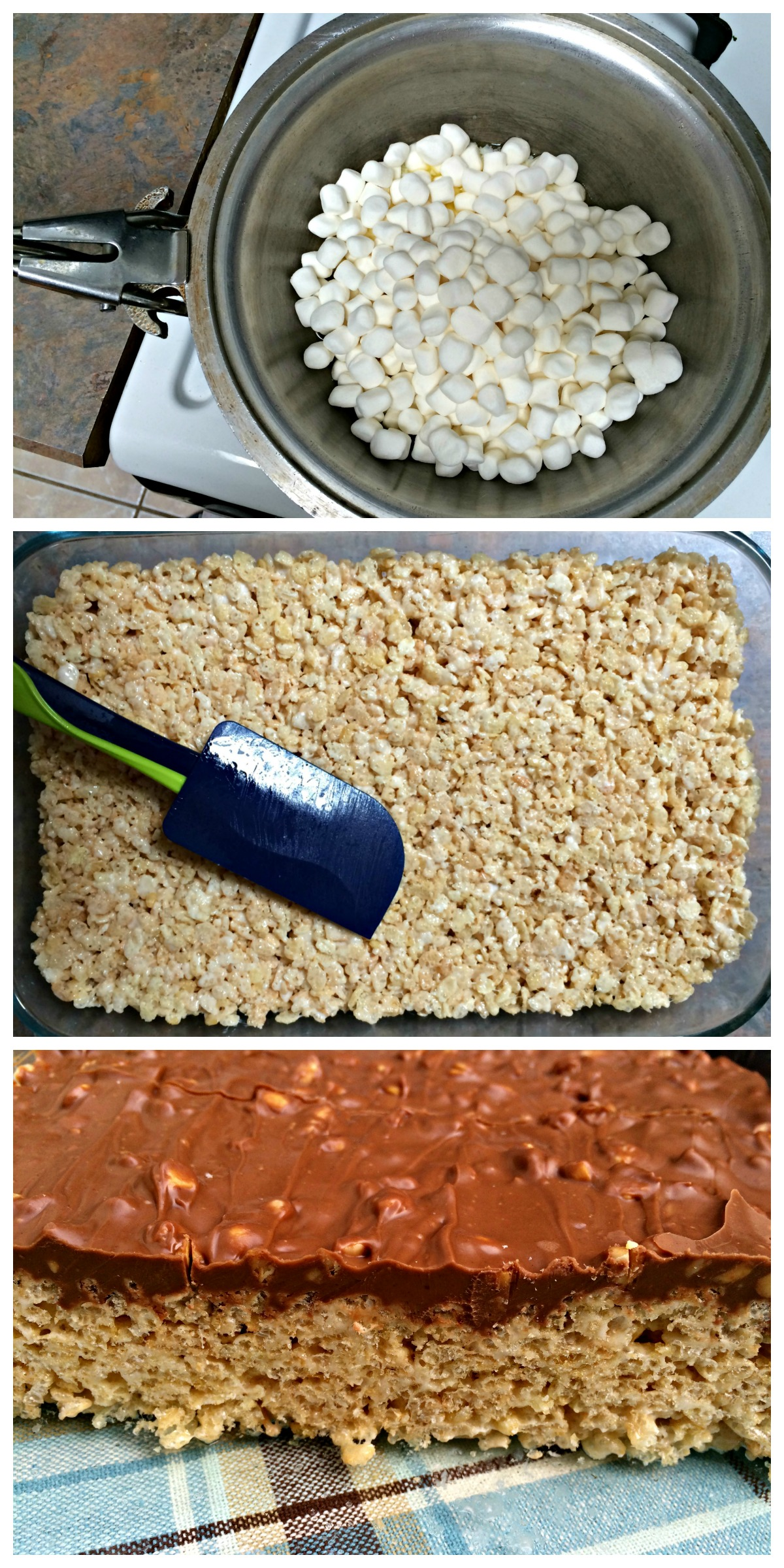 Rice Krispie Bars With Chocolate Topping