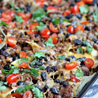 baked beef and bean nachos