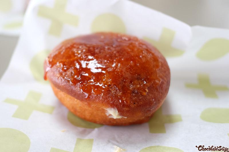 Rhubarb Vanilla Brulee donut at Shortstop Coffee and Donuts, Barangaroo, Sydney