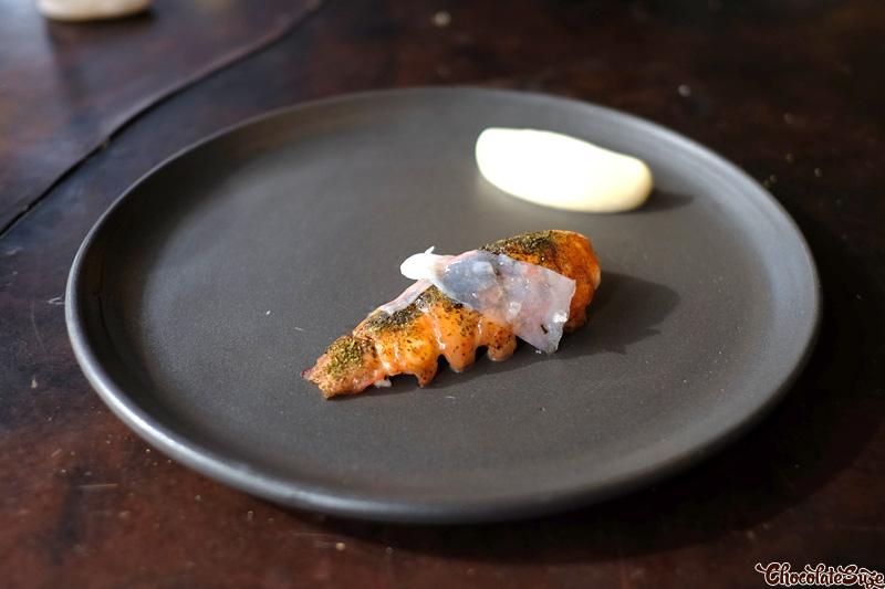 Marron tail, squid, seaweed and chicken emulsion at Vue de monde, Melbourne