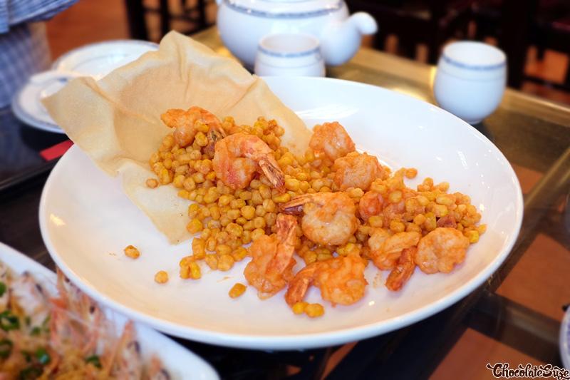 Stir Fried Prawns and Corn Salted Egg Yolks Steamed Butterfly Prawns With Garlic at Red Chilli Sichuan Restaurant, Chinatown