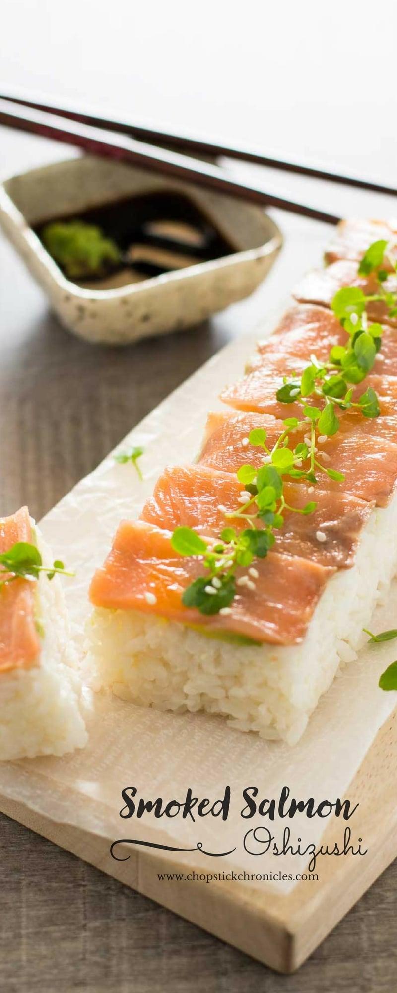 smoked salmon pressed sushi