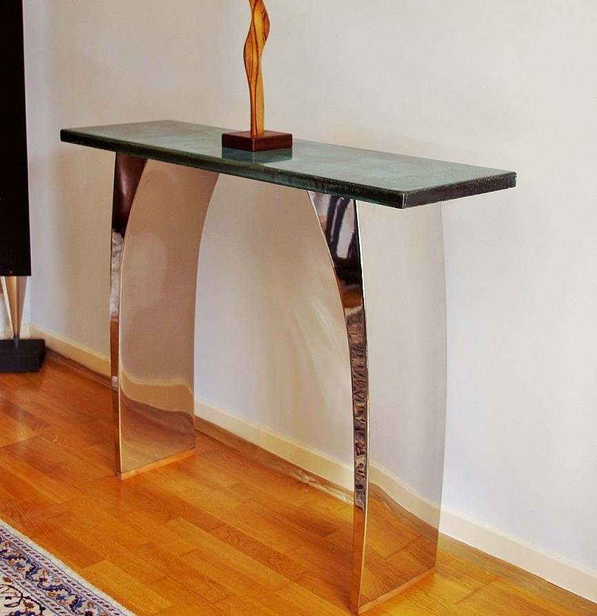 modern console tables with beautiful metal finishes. Black Bedroom Furniture Sets. Home Design Ideas