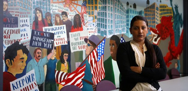 Monica Sibri, who founded a group at the City University of New York called CUNY Dreamers, at the office of New York Immigration Coalition. Credit Hiroko Masuike/The New York Times