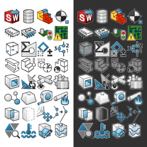 SOLIDWORKS UI icons created by me using Illustrator.