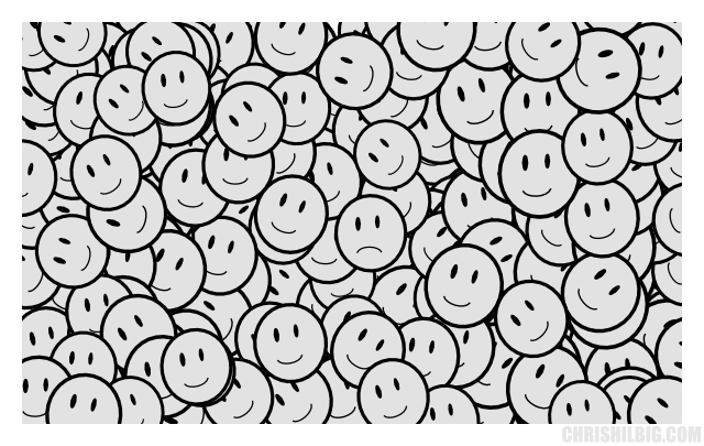 Unhappy face surrounded in smilies.