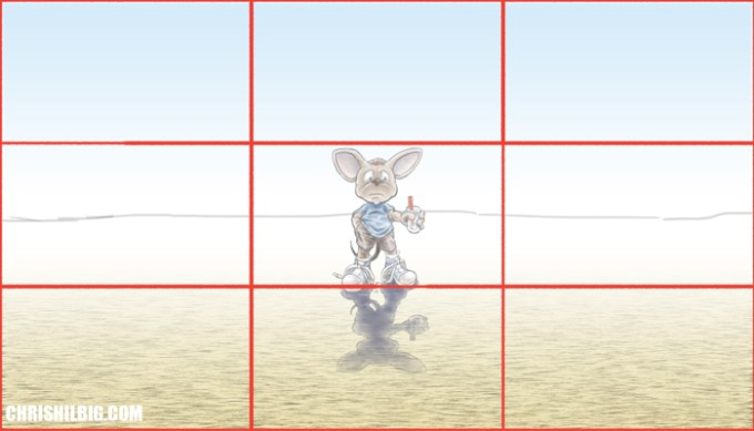 A drawing of a mouse out in the desert not using the rule of thirds