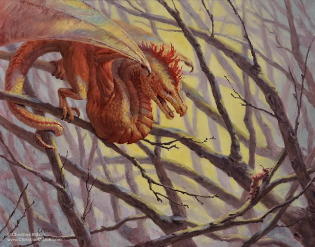 oil painting of red yellow orange wyvern hunting a caterpillar among branches