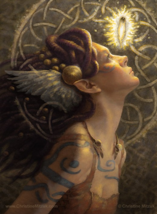 digital painting of the morrigu as she realizes her potential as a goddess by Christine Mitzuk