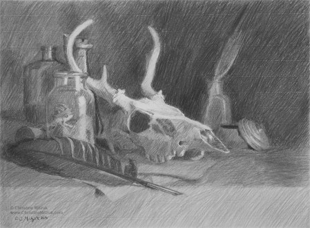 preparatory drawing done in charcoal for the oil painting alchemist's workbench by christine mitzuk