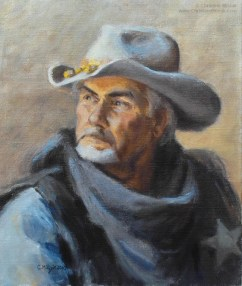 oil painting head study of a sheriff for the final painting outnumbered but not outfoxed by christine mitzuk