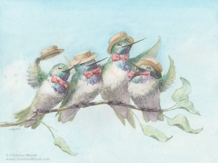 watercolor of hummingbirds singing in a barbershop quartet by Christine Mitzuk