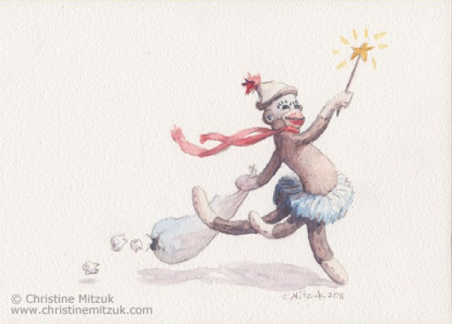 watercolor of sock monkey wearing a tutu leaping with a bag of teeth and a magic wand by Christine Mitzuk