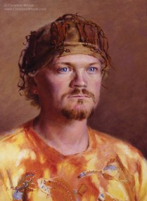 oil painting of a man wearing a tie dyed Australian myth shirt and an African hunting hat by Christine Mitzuk