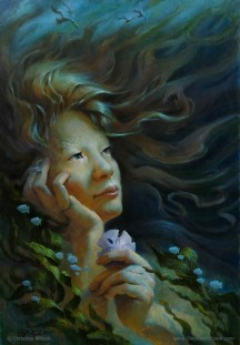 oil painting of a woman holding a sand dollar and staring dreamily into the distance, perhaps she's a mermaid, by christine mitzuk