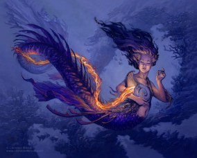 digital painting of blue and purple water elemental with female head and torso and fish serpent tail playing a shell lyre with orange and red flames coming out of it by christine mitzuk