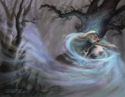 digital painting of female air elemental playing a flute calling up wind filled with fairies by Christine Mitzuk
