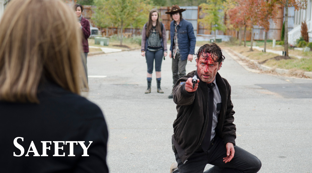 Katelyn Nacon as Enid, Chandler Riggs as Carl Grimes and Andrew Lincoln as Rick Grimes - The Walking Dead _ Season 5, Episode 15 - Photo Credit: Gene Page/AMC