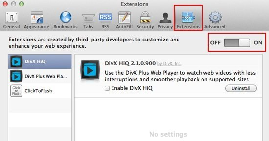 Check Safari Extensions Screenshot