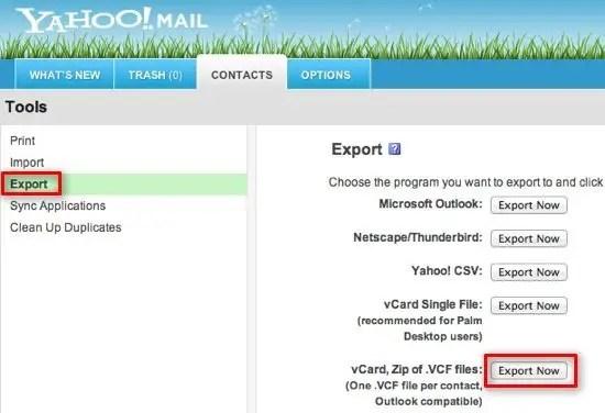 Export Yahoo vCard
