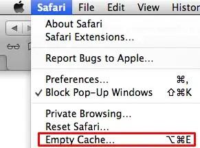 Empty application cache Safari