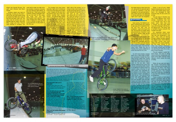 Toronto La Revolution BMX contest; a 6-page article about the inaugural 2001 Toronto La Revolution BMX contest.
