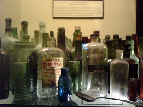 Old bottles on display at the Geiser Grand