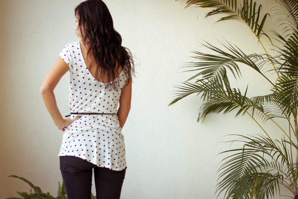 Monday Mode ☆ Black & White Polka Dot Shirt