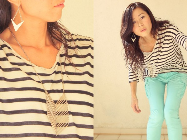iSanctuary Mango Stripe Shirt Gap Green Pants3
