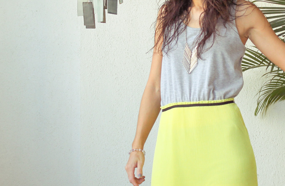 Monday Mode ☆ Neon Yellow Maxi Dress & Leather Bag by MANGO