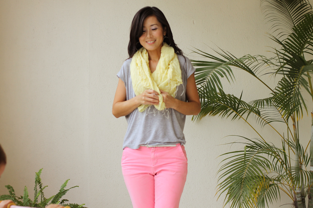 neon pants yellow scarf Sanctum-4