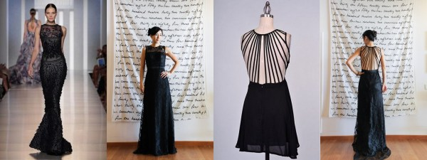 Black lace gown with string back3-001