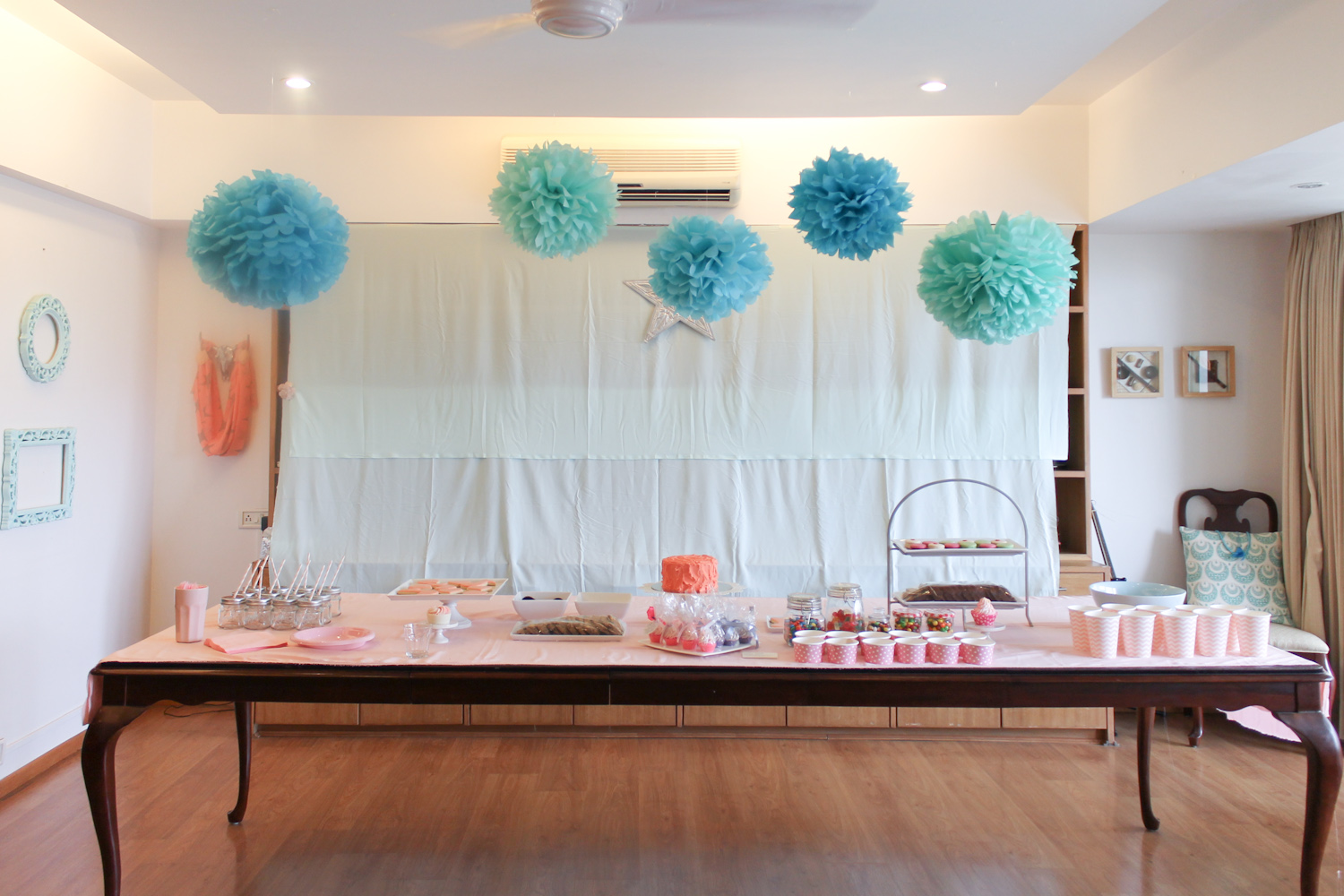 Blue Coral Pink Party Decoration-3